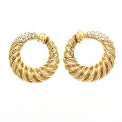 Van Cleef Diamond Gold Hoop Earrings