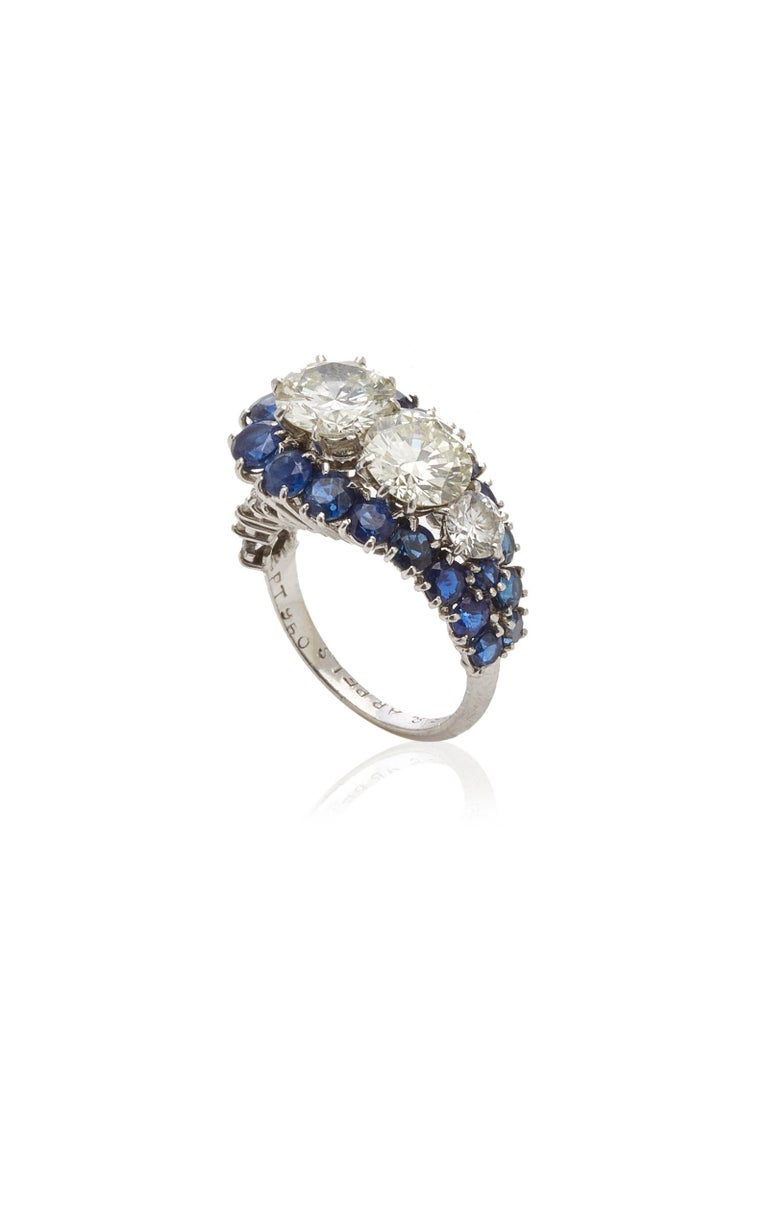 Van Cleef & Arpels Diamond Sapphire Ring In Excellent Condition For Sale In New York, NY