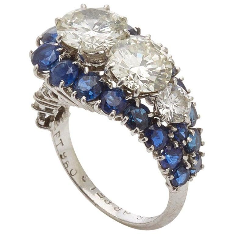 Van Cleef & Arpels Diamond Sapphire Ring For Sale