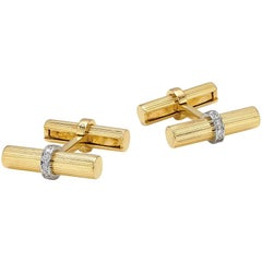 Van Cleef Gold and Diamond Cufflinks