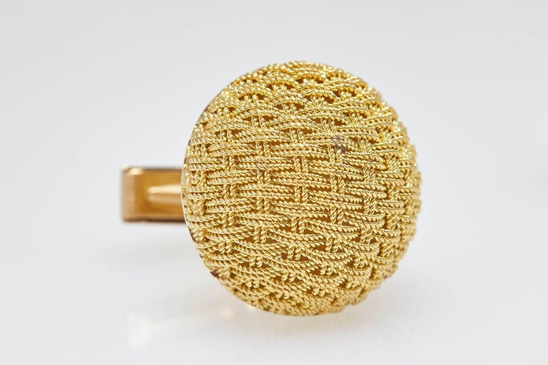 Women's or Men's Van Cleef & Arpels Gold Textured Cufflinks For Sale