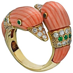 Van Cleef & Arpels 18K Yellow Gold Coral Duck Ring