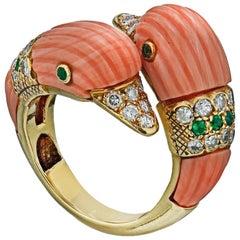 Van Cleef Paris Dolphin Coral Ring