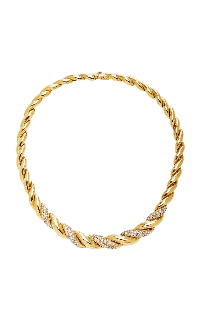 Women's or Men's Van Cleef Rope Gold Diamond Necklace For Sale