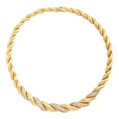 Van Cleef Rope Gold Diamond Necklace