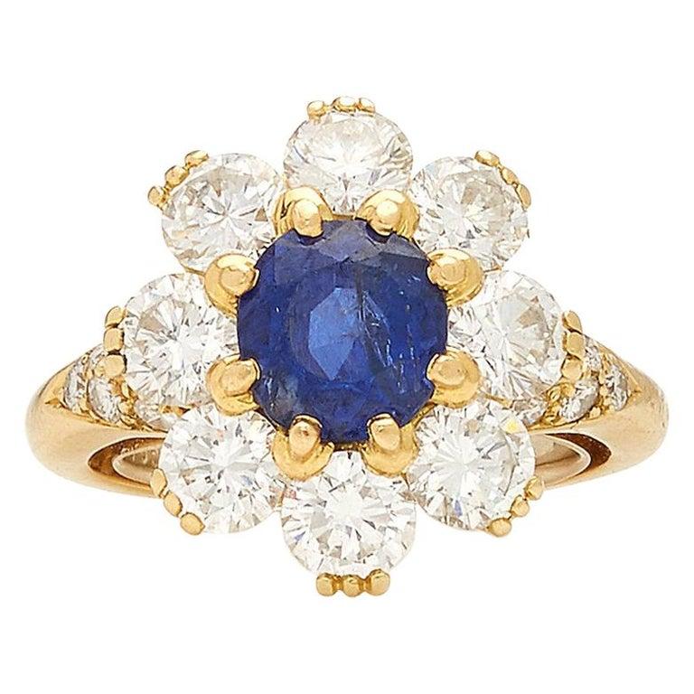 Van Cleef Rosetta Sapphire Diamond Ring For Sale