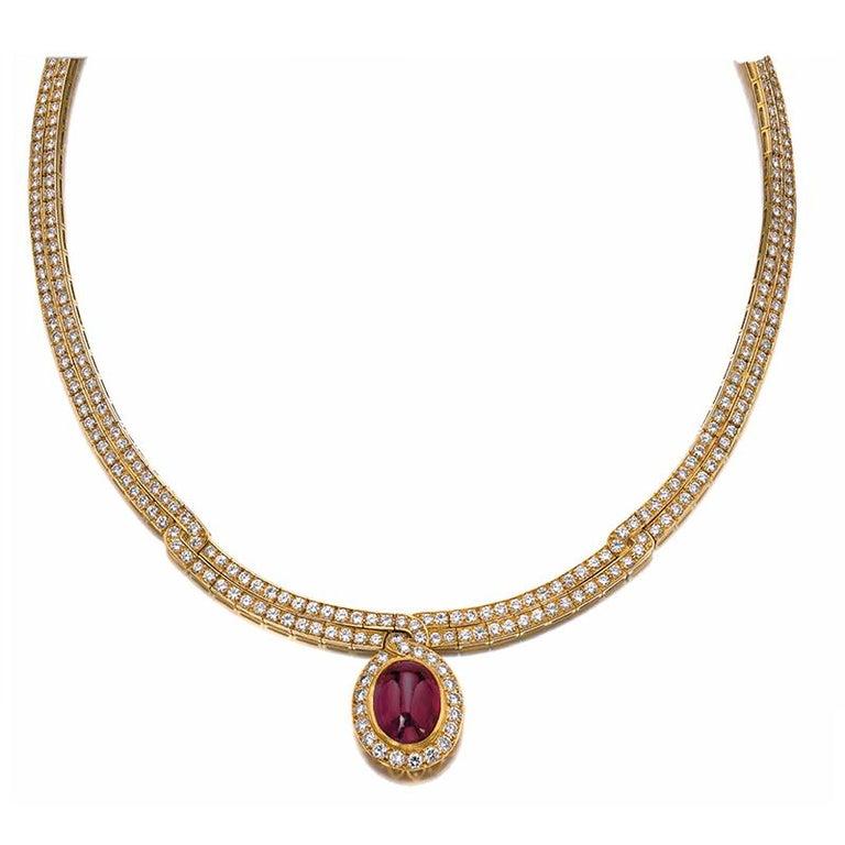 Women's Van Cleef Ruby Diamond Gold Necklace For Sale