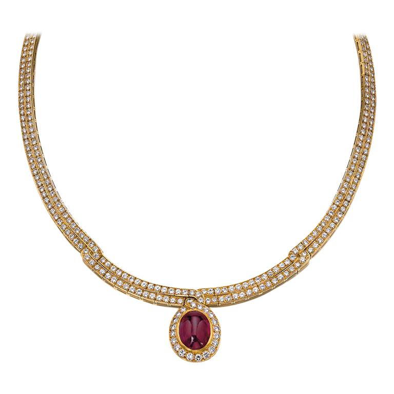 Van Cleef Ruby Diamond Gold Necklace For Sale
