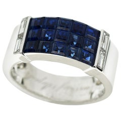 Van Cleef & Arpels Mystery Set Sapphire Diamonds Gold Pont Neuf Ring