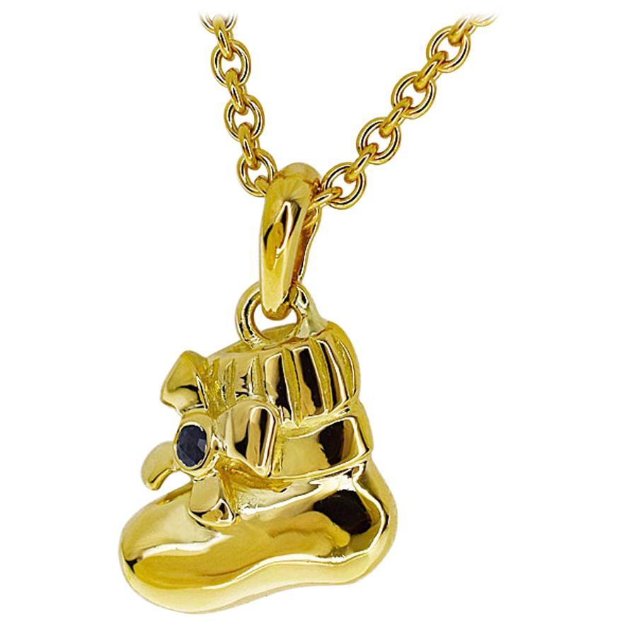 Van Cleef & Arpels Sapphire 18 Karat Yellow Gold Boots Pendant Necklace