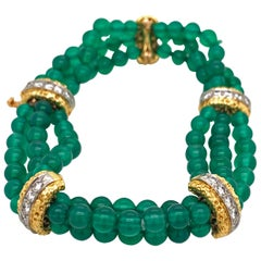 Van Cleefs & Arpels 18 Karat Yellow Gold Chalcedony and Diamond Bead Bracelet
