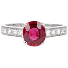 Van Cleep & Arpels, GIA, 1.38 Carat Burma No Heat Pigeon's Blood Ruby Ring