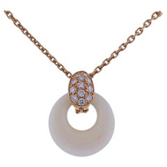 Van Clef & Arpels Coral Diamond Gold Pendant Necklace