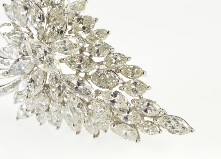 Victorian Van Clief Marquise Diamond Cluster 14 Karat White Gold Pendant or Brooch For Sale