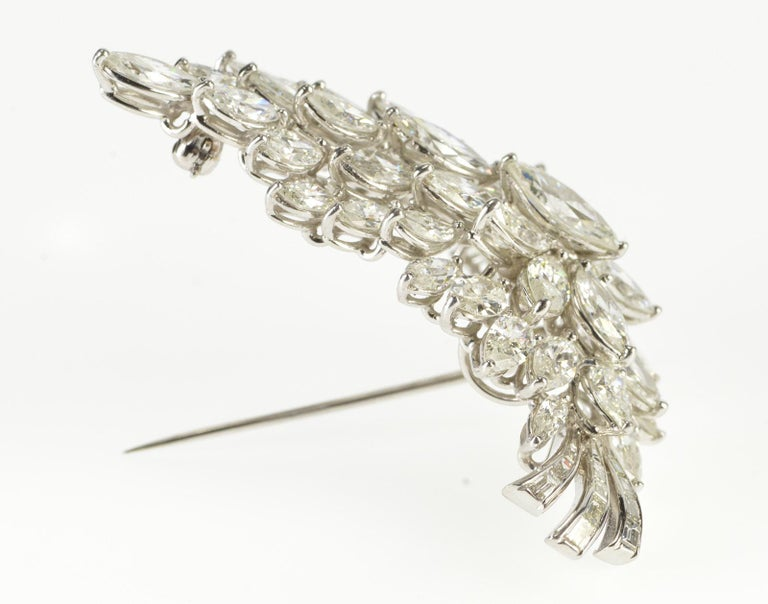 Marquise Cut Van Clief Marquise Diamond Cluster 14 Karat White Gold Pendant or Brooch For Sale