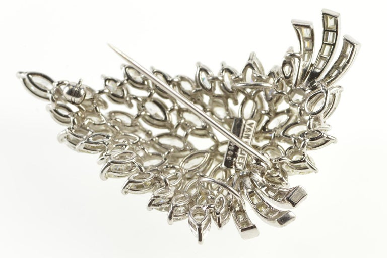 Van Clief Marquise Diamond Cluster 14 Karat White Gold Pendant or Brooch In Excellent Condition For Sale In Frederick, MD