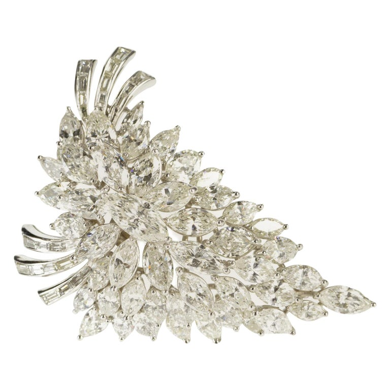Van Clief Marquise Diamond Cluster 14 Karat White Gold Pendant or Brooch For Sale