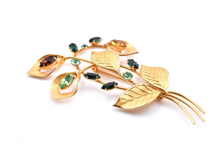 Women's or Men's Van Dell Rhinestone Pin 1/20 12 Karat Gold Filled For Sale