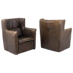 Van Den Berg for Montis, Pair of Armchairs in Brown Leather, `after 1974