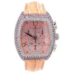 Van Der Bauwede Magnum XS Chronograph, Pink Dial with Diamonds & Pink Sapphires