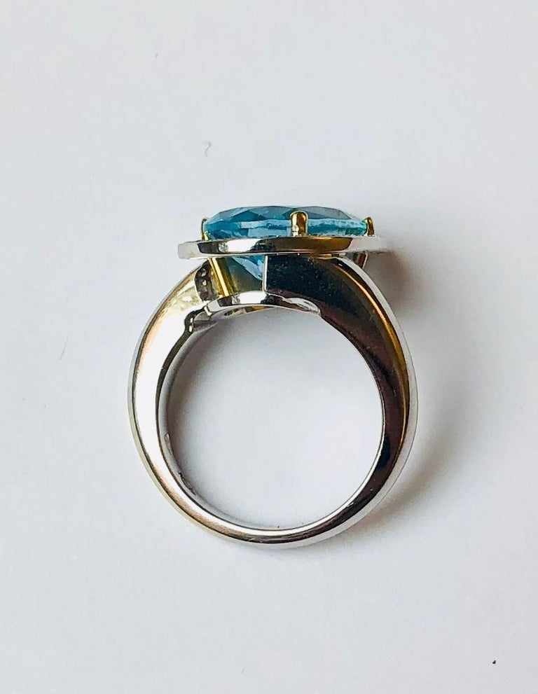 Pear Cut Van der Veken 18 Karat White Gold Blue Topaz and Diamond Statement Ring For Sale