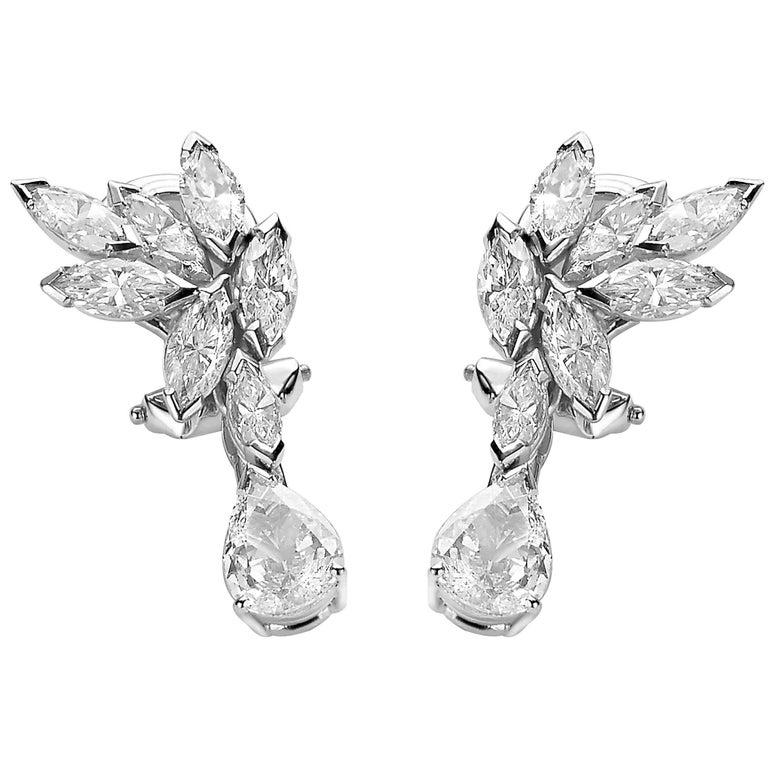 Van der Veken Marquise and Pear-Cut Diamond Earrings For Sale