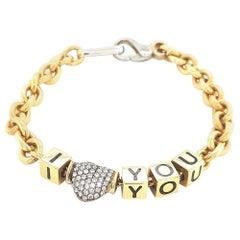 Van Esser I Love You Bracelet, 18 Karat Yellow Gold with 2 Carat Diamonds