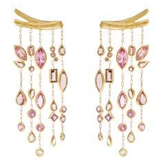 Van Gogh Almond Earrings 'Pink Diamond Tourmaline Sapphire Morganite 18k Gold'
