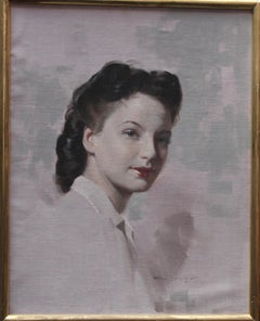Portrait of a Forties Iconic Woman - British art female portrait oil painting