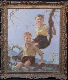 Portrait of Two Boys Playing - British Art Deco 1930's portrait oil painting