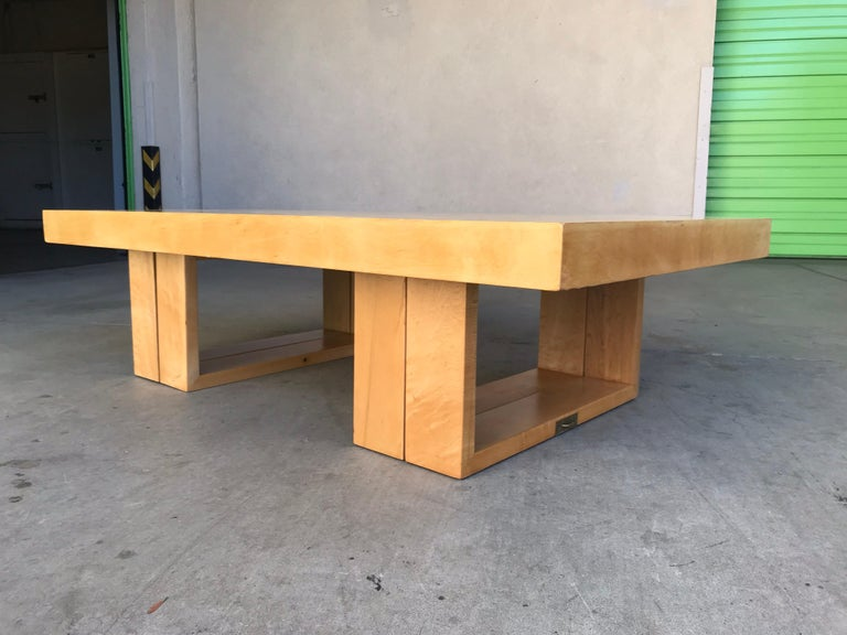 This is an early production piece with the old Beverly Hills label, circa 1940s. It was later manufactured in the 1950s by Brown & Saltman in mahogany. Made of plywood (no press-board) with birch wood veneer and brass hardware. A nice timeless