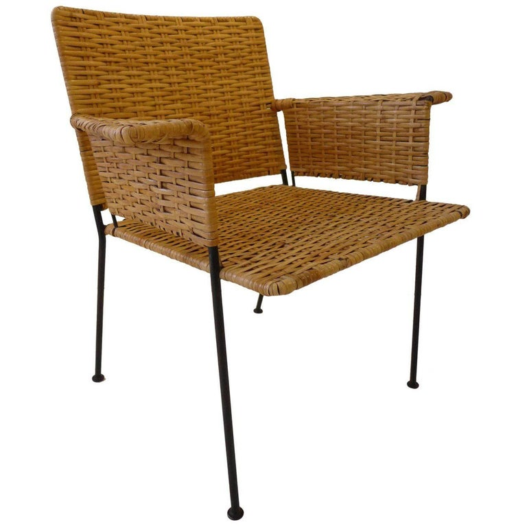 Van Keppel-Green Chair in Wrought Iron and Rattan