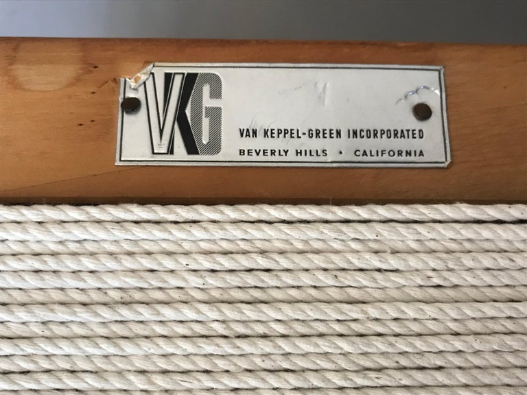 American Van Keppel Green Wood and Cord Chairs, Beverly Hills For Sale