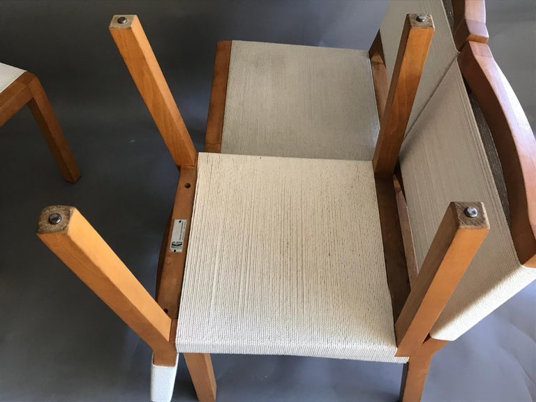 Woodwork Van Keppel Green Wood and Cord Chairs, Beverly Hills For Sale