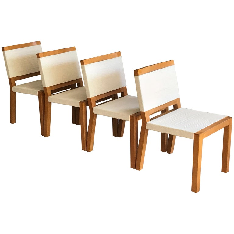 Van Keppel Green Wood and Cord Chairs, Beverly Hills For Sale