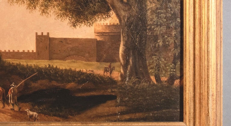 Oil on canvas depicting the landscape of the Roman countryside with figures and Rome in the background. Our painter is part of the Flemish school active in Rome from the latter 17th century. Our painting can be attributed with confidence to the
