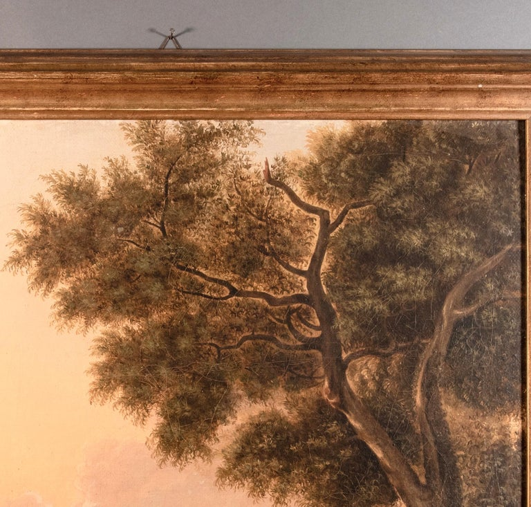 Italian Van Lint School Grand Tour Rectangular Oil on Canvas Roman Countryside Painting For Sale