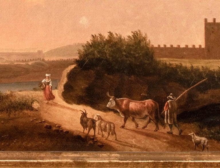 Gilt Van Lint School Grand Tour Rectangular Oil on Canvas Roman Countryside Painting For Sale