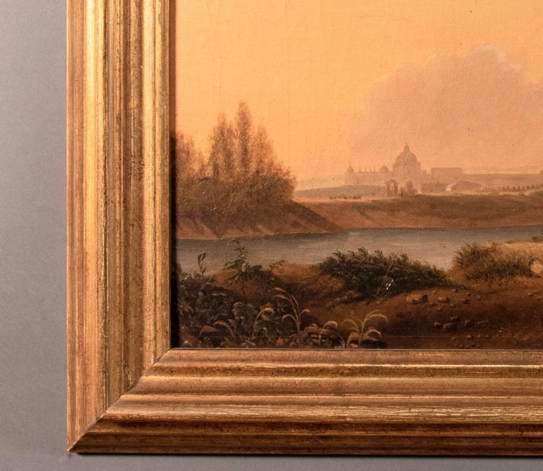 Van Lint School Grand Tour Rectangular Oil on Canvas Roman Countryside Painting In Good Condition For Sale In Paris, FR