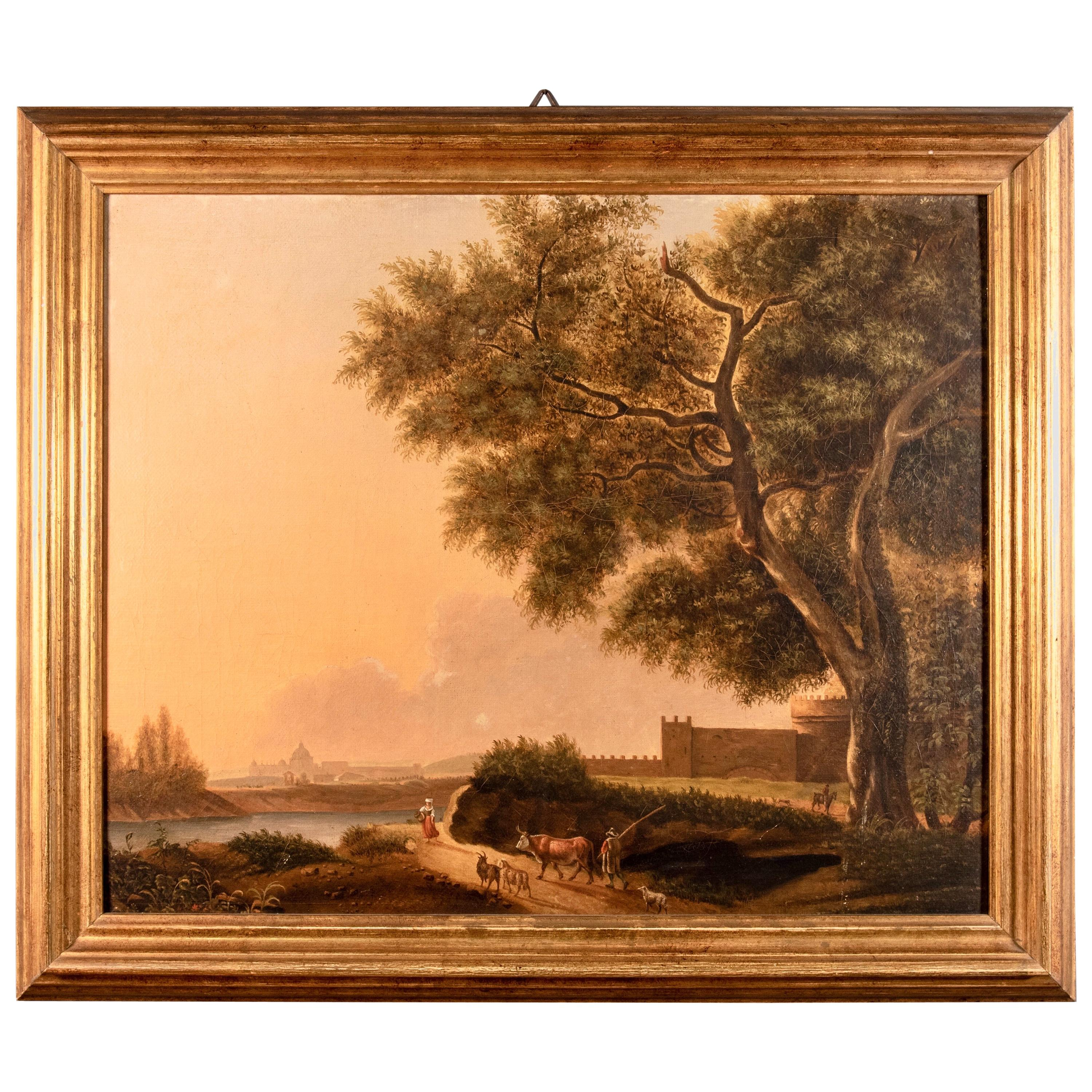 Grand Tour Rectangular Oil on Canvas Roman Countryside Painting