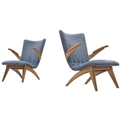 Van Os Armchairs with Blue Upholstery