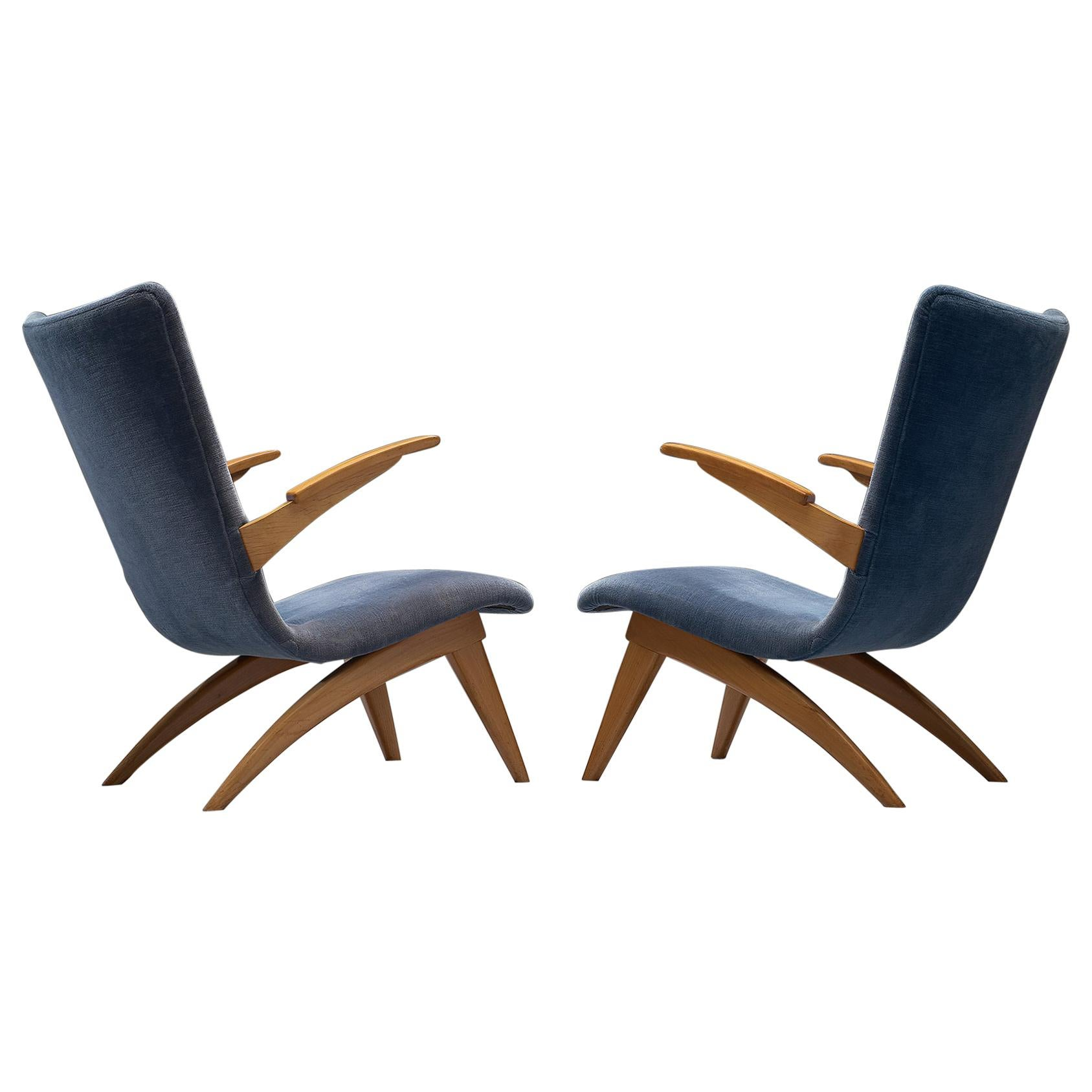 Van Os Pair of Armchairs with Blue Upholstery