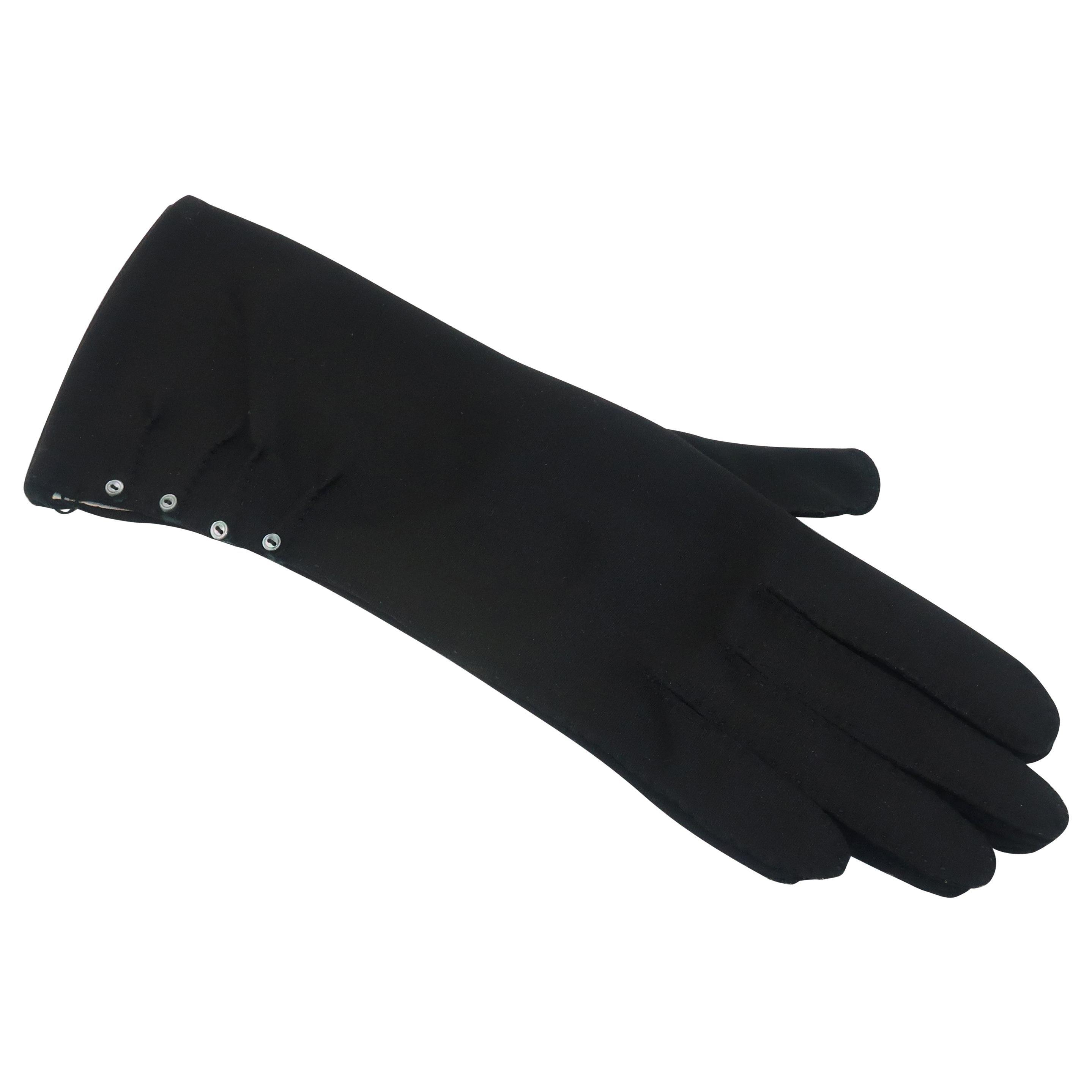 Van Raalte Black Nylon Gloves With Buttons, C.1950