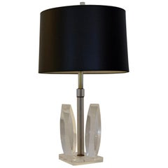Van Teal Attributed Sculptural Acrylic / Lucite with Brass Accents Table Lamp