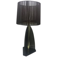 Van Teal Smoked Lucite and Brass American Table Lamp circa 1980 Dark Brown