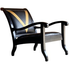 Vana Black Leather Lounge Chair by Vanshree Singh South Africa