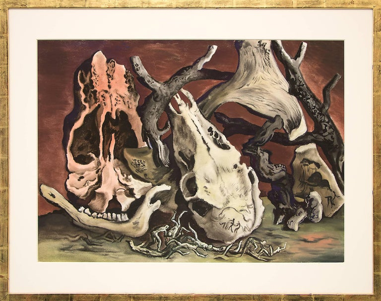 Original watercolor by renowned 20th century Denver artist, Vance Kirkland (1904-1981), Dated: 1945.34 (painting number 34 from 1945) from the artist's surrealism period, a still life with organic wood, bones and skulls.  Presented in a custom frame