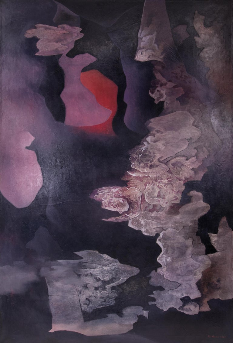 "1955 Vance Kirkland original signed oil painting ""Coral, Amethyst and Grey (Fire and Ice)"" abstract expressionist mid-century modern period Denver artist.  Presented in a custom frame, outer dimensions measure 65 ¼ x 43 ¼ x 1 ½ inches. Image size is"