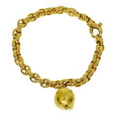 Van Cleef & Arpels Globe Motif Pendant 18 Karat Yellow Gold Chain Bracelet