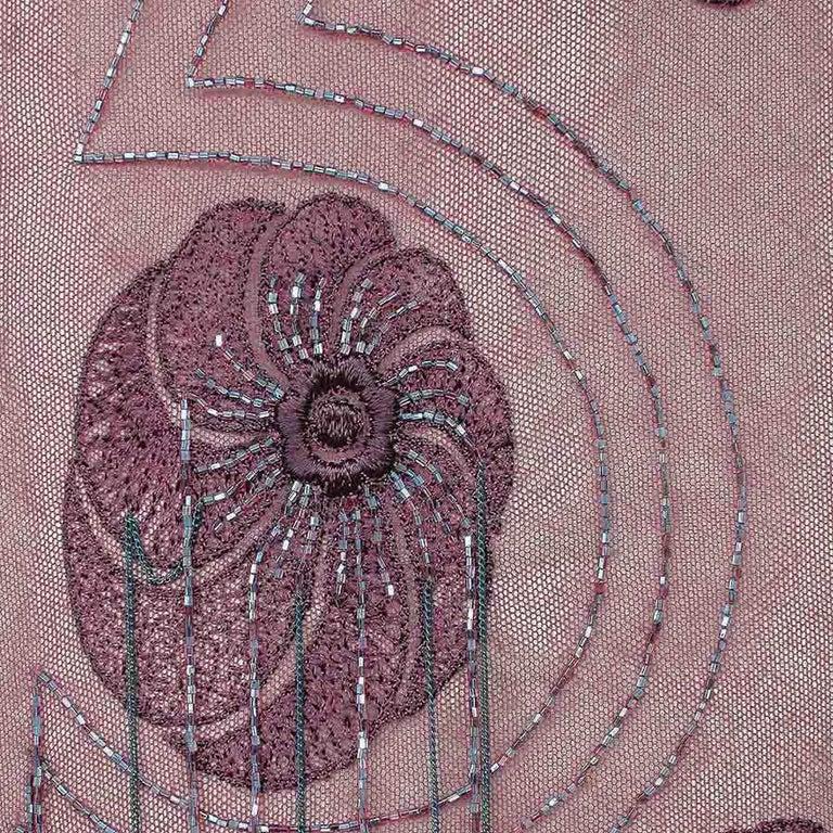 Brown Vanda Smith Vintage Lace & Suede Bag Hand Beaded Delicate Gunmetal Chain Tassels For Sale